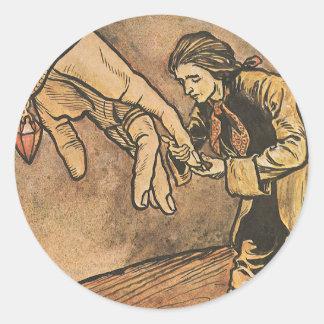 Vintage Gulliver's Travels by Arthur Rackham Round Stickers
