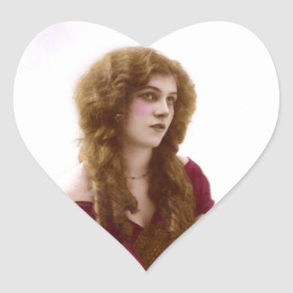 Vintage Gypsy Gal Color Tinted Photo in Purple Heart Sticker