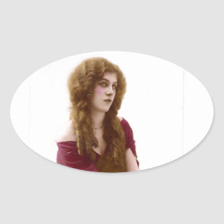 Vintage Gypsy Gal Color Tinted Photo in Purple Oval Sticker