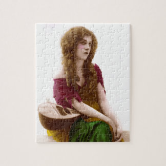 Vintage Gypsy Gal Color Tinted Photo in Purple Puzzles