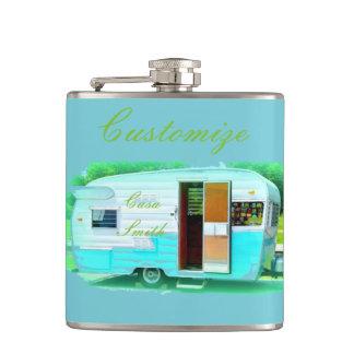 Vintage gypsy trailer Thunder_Cove On caravan Hip Flask