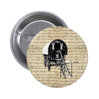 Vintage Gypsy wagon Pinback Buttons