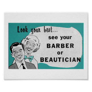 Vintage Hair Salon Art Beautician Print in Aqua