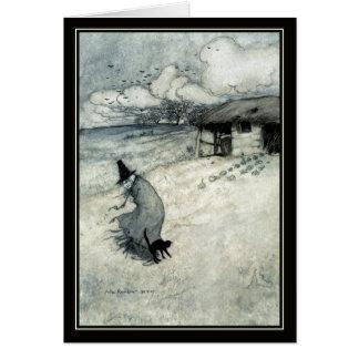 Vintage Halloween Arthur Rackham Witch + Black Cat Card