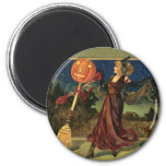 Vintage Halloween, Beautiful Dancing Witch 6 Cm Round Magnet
