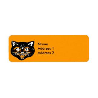 Vintage Halloween Black Cat Face Return Address Label