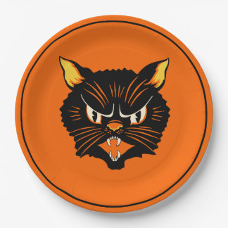 Vintage Halloween Black Cat Plate