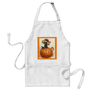 Vintage Halloween Black Cat Witch Hat Pumpkin Baby Standard Apron