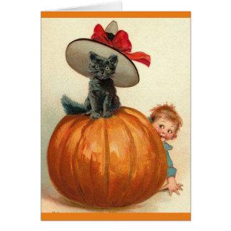 Vintage Halloween Black Cat Witch Hat Pumpkin Baby Card