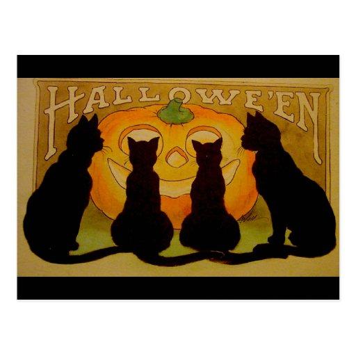 Vintage Halloween Black Cats and Jack O'Lantern Post Cards
