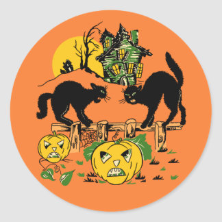 Vintage Halloween Black Cats & Haunted House Classic Round Sticker