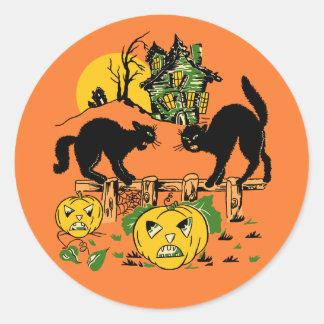 Vintage Halloween Black Cats & Haunted House Round Sticker