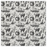 Vintage Halloween Black Cats Pumpkins Pattern Fabric