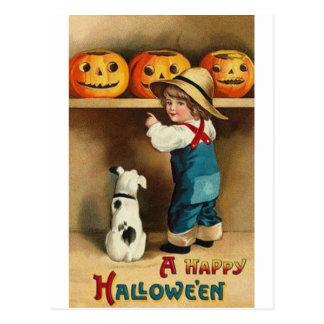 Vintage Halloween Boy, Puppy and Jack-o-lantern Postcard