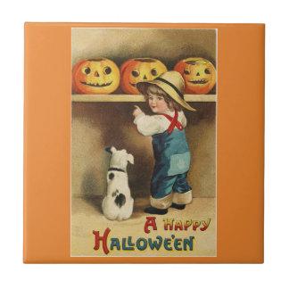 Vintage Halloween Boy Tile