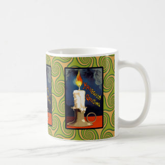 Vintage Halloween Candle Greeting Coffee Mug