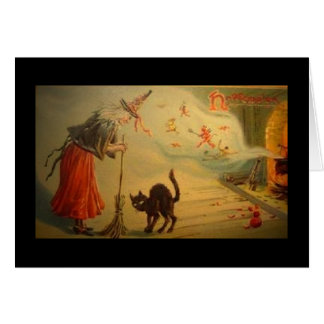 Vintage Halloween card Old crone with cat