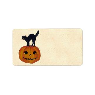 Vintage Halloween Cat Address Label