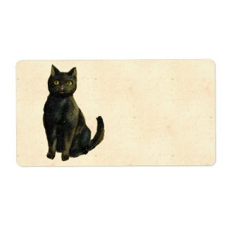 Vintage Halloween Cat Shipping Label