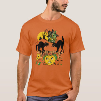 Vintage Halloween Cats and Haunted House T-Shirt