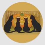 Vintage Halloween Cats and Jack O'Lantern Round Stickers