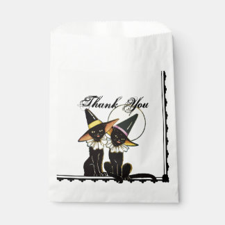 Vintage Halloween Cats Favor Bag