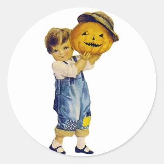 Vintage Halloween Child Round Stickers