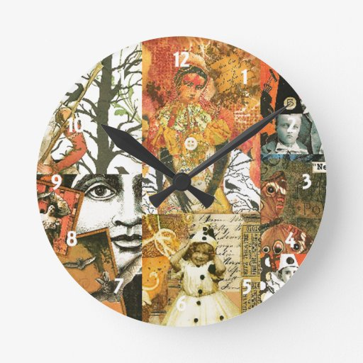 Vintage Halloween Collage Wall Clock | Zazzle