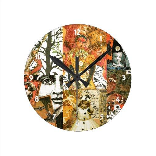 Vintage Halloween Collage Wall Clock | Zazzle