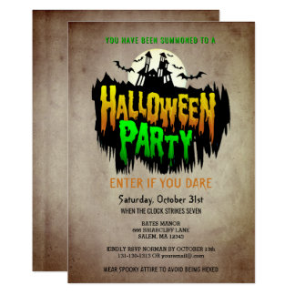 Vintage Halloween Costume Party Haunted House Card