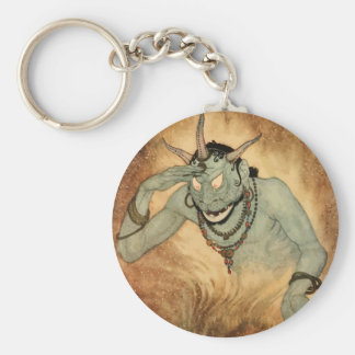 Vintage Halloween, Creepy Demon Monster with Horns Basic Round Button Keychain