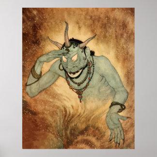 Vintage Halloween, Creepy Demon Monster with Horns Poster