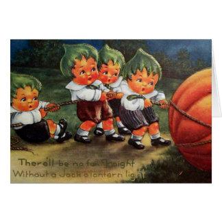 Vintage Halloween customisable kids pumpkin card
