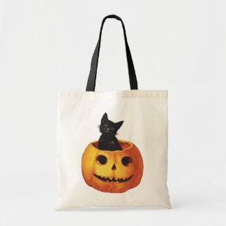 Vintage Halloween, Cute Black Cat in a Pumpkin Budget Tote Bag