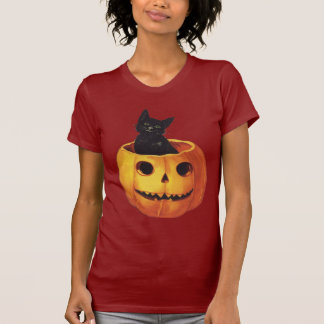 Vintage Halloween Cute Smiling Black Cat Pumpkin T-shirt
