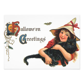 Vintage Halloween, Cute Witch and Cat Personalized Invitations