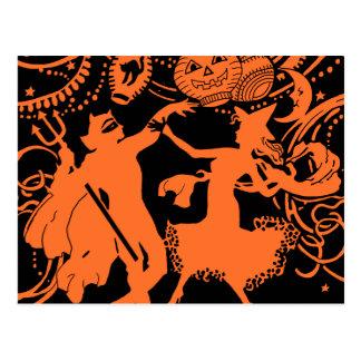 Vintage Halloween Devil Witch Dance Postcard