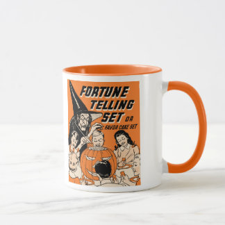 Vintage Halloween Fortune Telling Set with Witch Mug