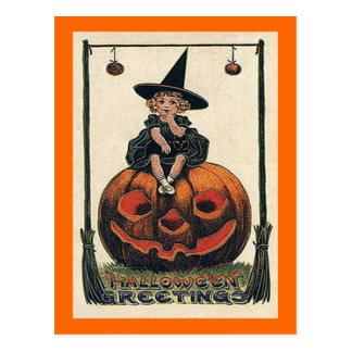 Vintage Halloween Girl on Jack o Lantern Post Cards