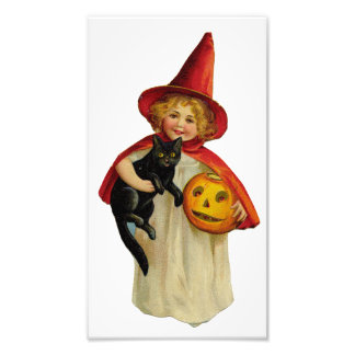 Vintage Halloween Girl Photo Print