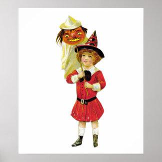 Vintage Halloween Girl Print