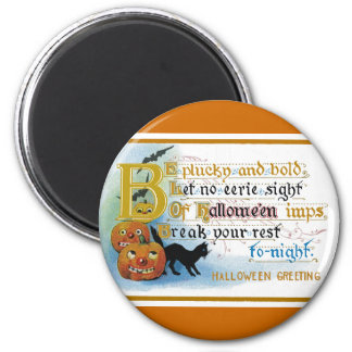 Vintage Halloween Greeting Card 6 Cm Round Magnet