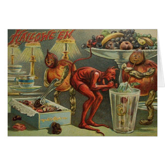 Vintage Halloween Greeting Card - Devlish Greeting