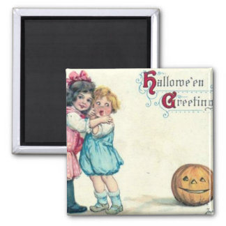 Vintage Halloween Greeting Square Magnet
