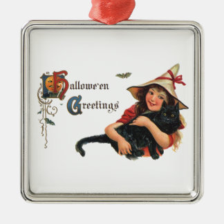 Vintage Halloween Greetings, Cute Witch and Cat Square Metal Christmas Ornament
