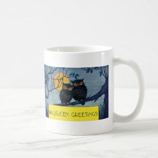Vintage Halloween Greetings Owls Tree Full Moon Mug