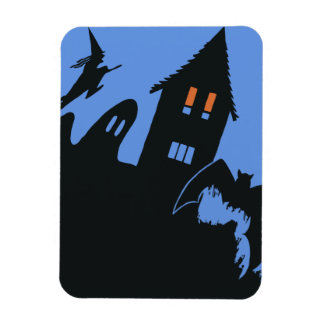 Vintage Halloween Haunted House Witch Ghost Bat Magnet