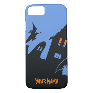 Vintage Halloween Haunted House Witch Ghost Bat iPhone 7 Case