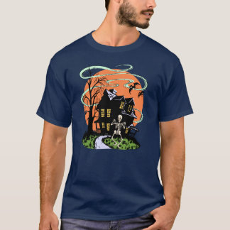 Vintage Halloween Haunted House with Skeleton T-Shirt