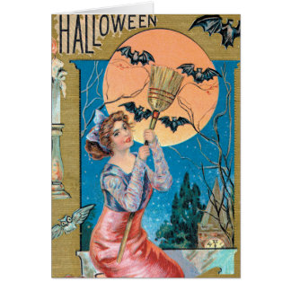 Vintage Halloween Holiday add message card
